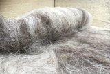 100 g gewaschene Vlieswolle - Drenter Heideschaf (Grau)_