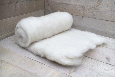 500 g gewaschene Vlieswolle - Texelschaf (Elfenbeinfarbig)