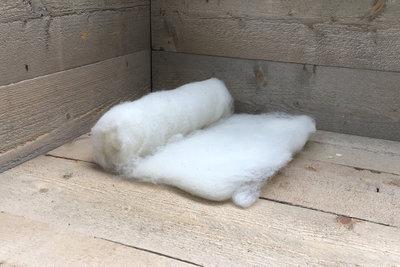 100 g gewaschene Vlieswolle - Swifter (Elfenbeinfarbig)