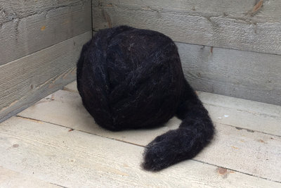500 g gew. Kammzugwolle - Dassenkopf (Dunk. Braungrau)