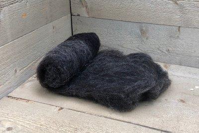 100 g gewaschene Vlieswolle - Blaue Texelschaf (Dunkelgrau)