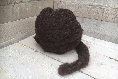 500 g gew. Kammzugwolle - Blaue Texelschaf (Dunkelgrau)