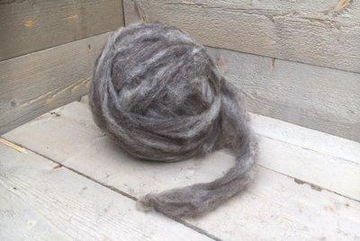 500 g gew. Kammzugwolle - Blaue Texelschaf (Hellgrau)