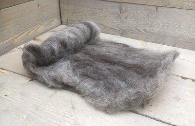 100 g gewaschene Vlieswolle - Drenter Heideschaf (Grau)