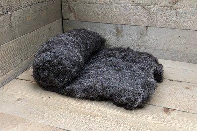 250 g gewaschene Vlieswolle - Herdwick (Grau)