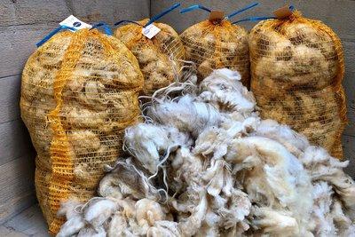 Mengenrabbatt 5 kg Basiswolle / Füllwolle - pur (Wollweiß)