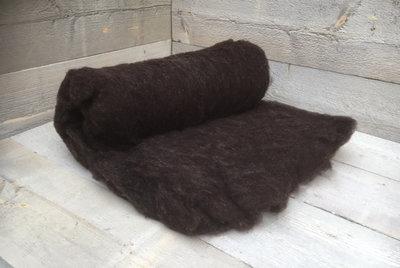 250 g gewaschene Vlieswolle - Zwartbles (Braunschwarz)
