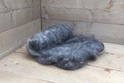 250 g gewaschene Vlieswolle - Gotland Pelzschaf (Grau)