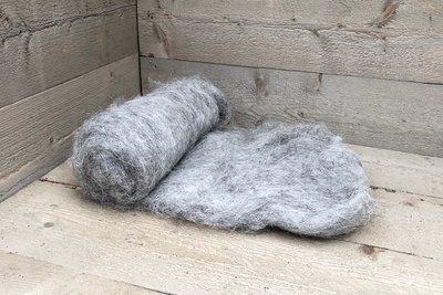 250 g gewaschene Vlieswolle - Heidschnucke (Grau)