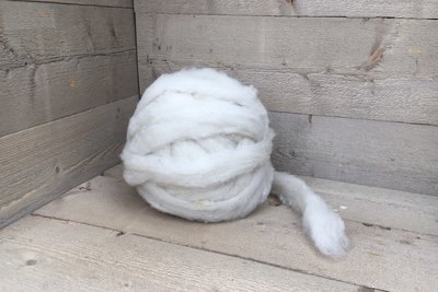 500 g gew. Kammzugwolle - Texelschaf Lammwolle (Elfenbeinfarbig)